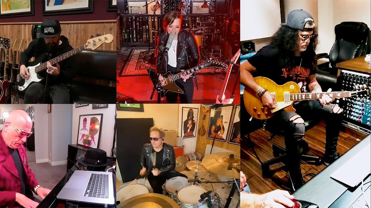 """Come Together"" with Lzzy Hale, Slash, Gilby Clarke, Linda Perry, Blasko, Matt Sorum and Mike Garson"